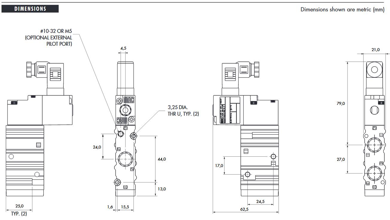 اندازه شیر برقی مک 52 MAC valves